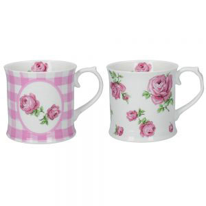 Set of 2 Vintage Roses Mugs Pink-0