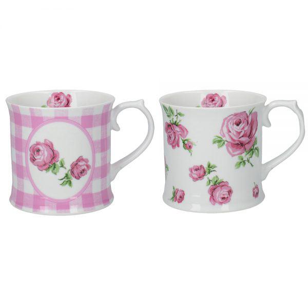 Set of 2 Vintage Roses Mugs Pink-0