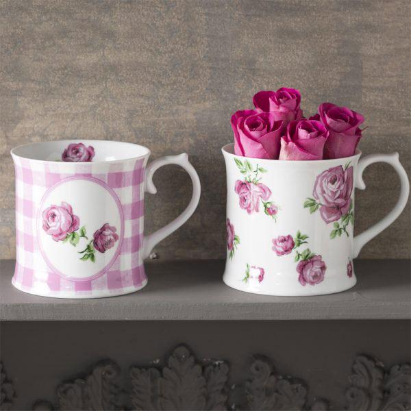 Set of 2 Vintage Roses Mugs Pink-1517