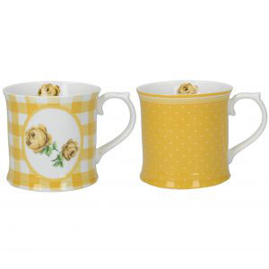 Set of 2 Vintage Roses Mugs Tumeric-0