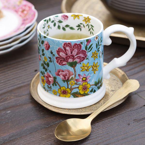 Eastern Flora Tankard Mug In Turquoise-1632