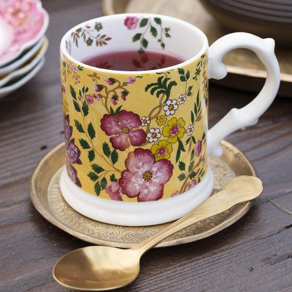 Eastern Flora Tankard Mug In Yellow-1635