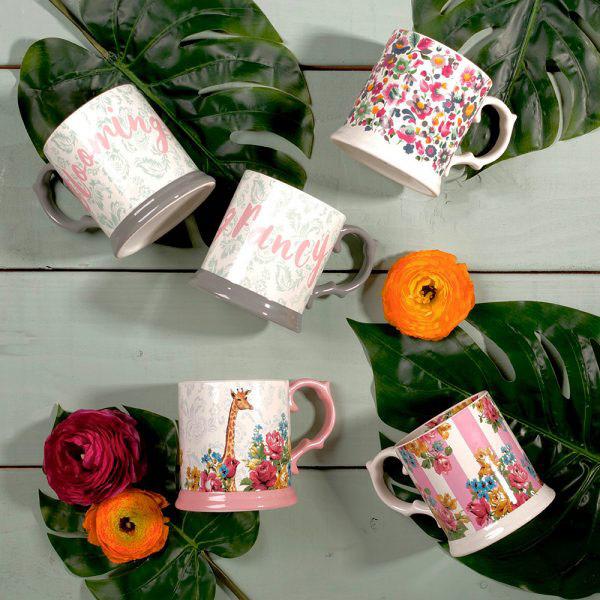 Blooming Fancy Stripe Tankard Mug-1579