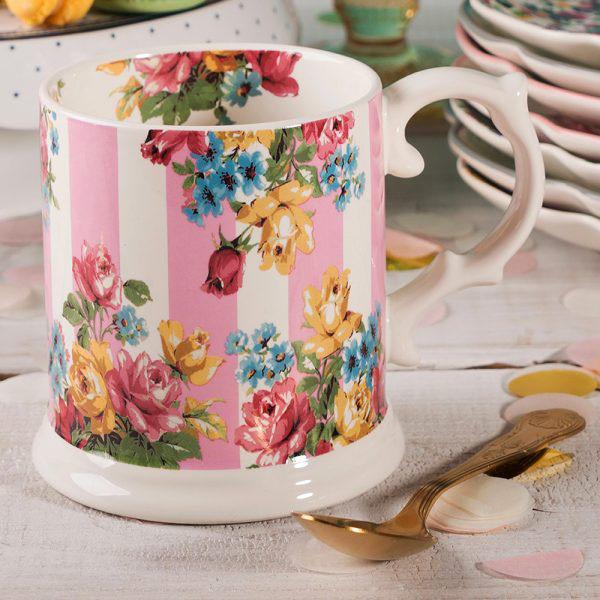 Blooming Fancy Stripe Tankard Mug-1576