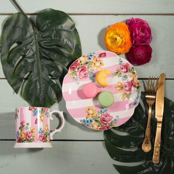 Blooming Fancy Stripe Tankard Mug-1577