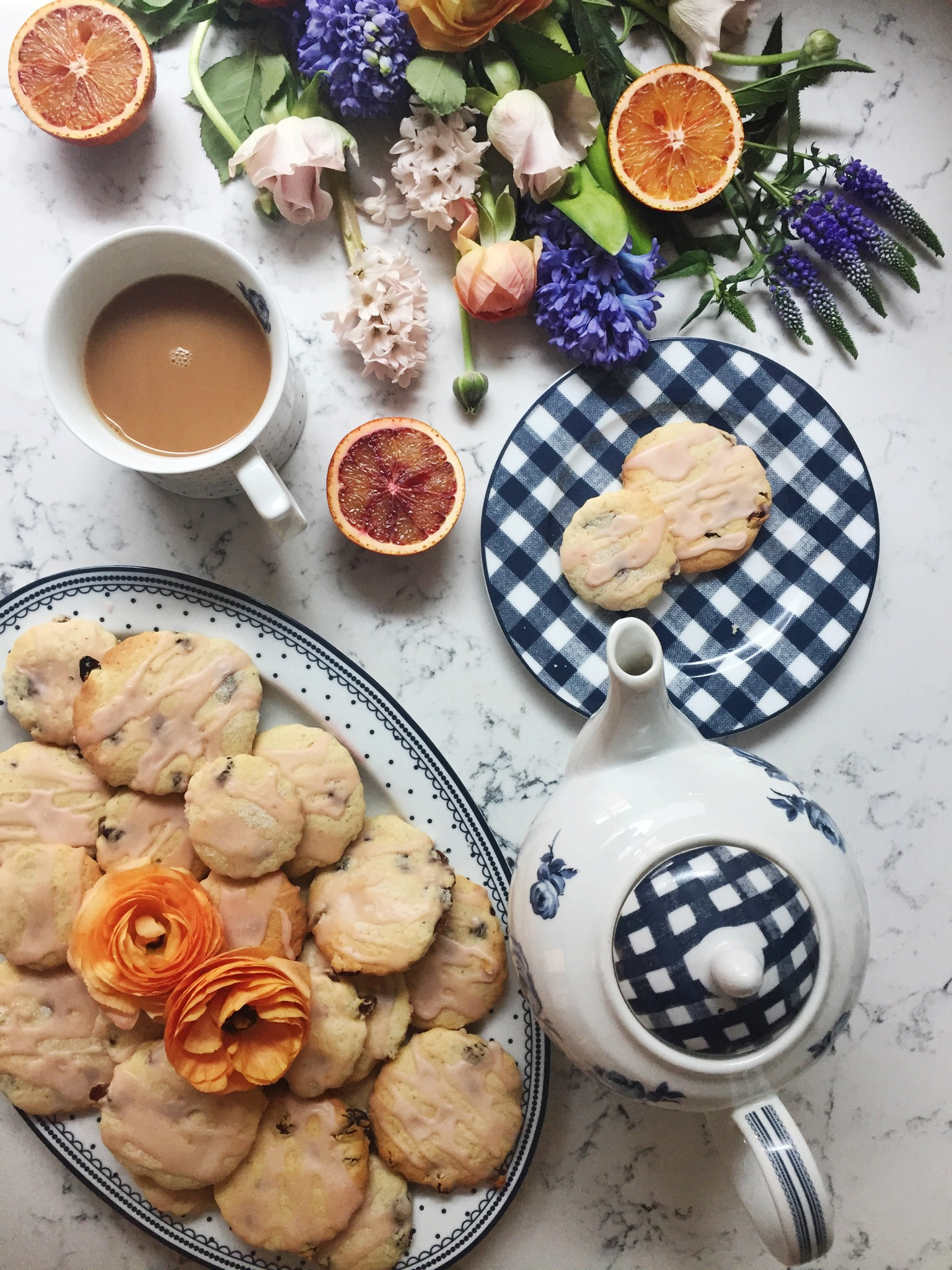 Cardamom Easter biscuits with blood orange icing