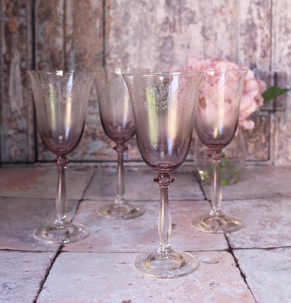 fancy glassware - our pink ombre wine glasses with a floral etched rim