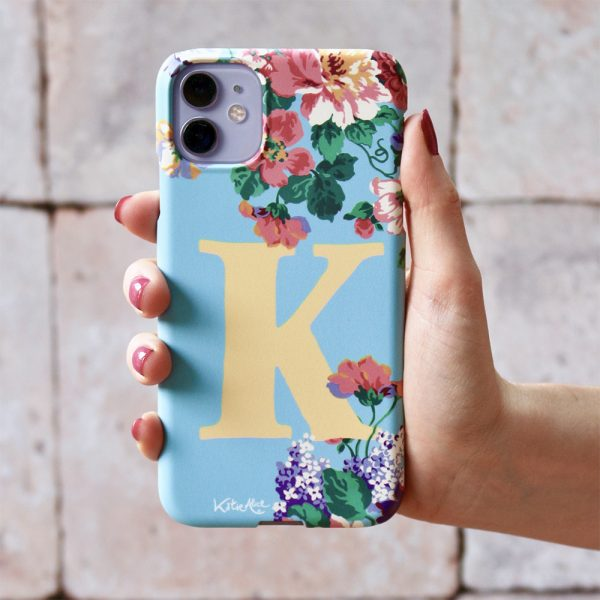 Katie Alice Blue and yellow monogram phonecase