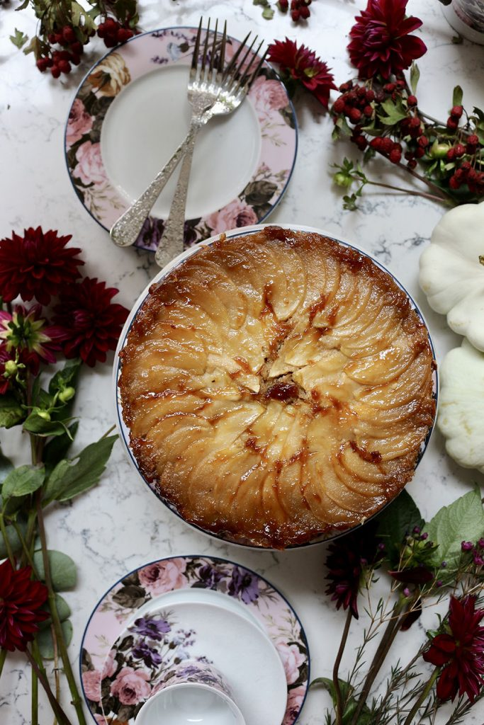 Salted caramel apple and ginger upside-down cake