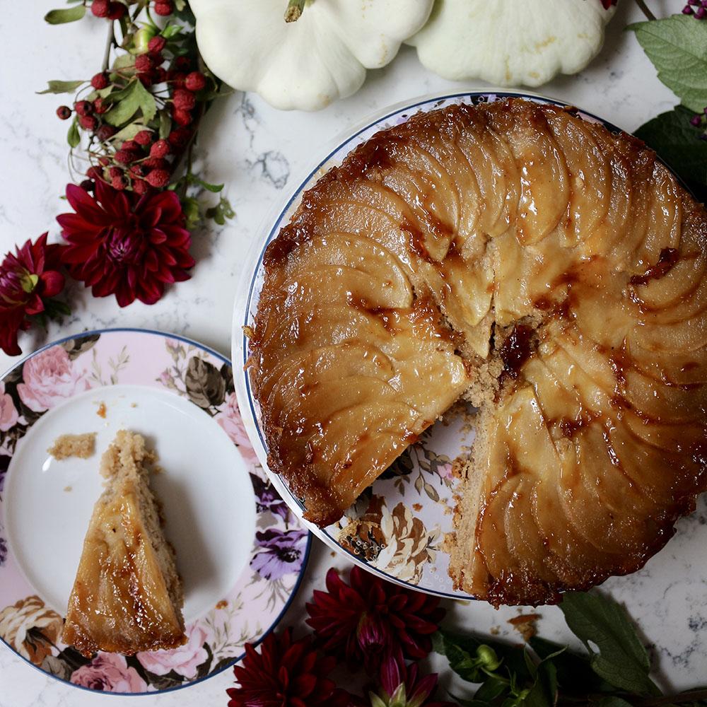 Salted caramel apple and ginger upside down cake
