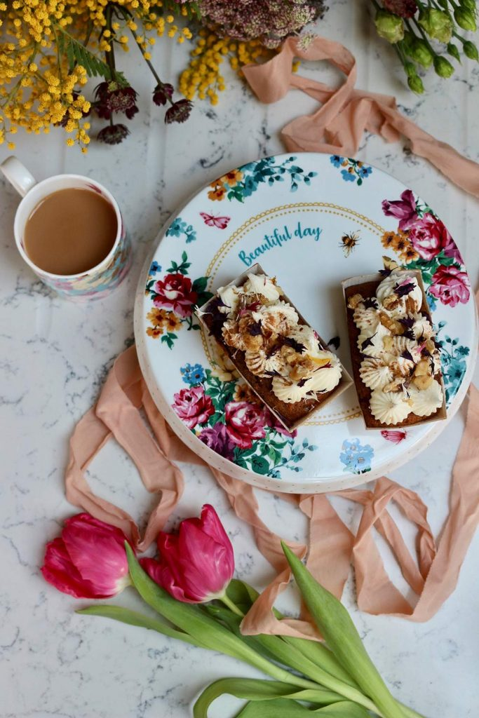Carrot cake on our pretty, vintage floral cake stand