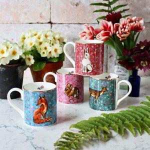 set of four forest fling mugs