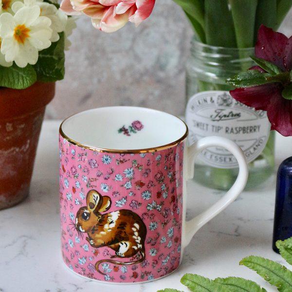 pink floral mug with woodmouse motif
