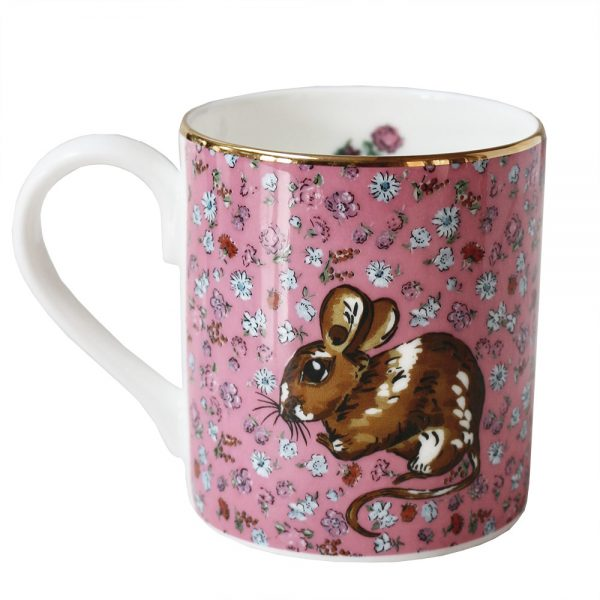 Pink floral mug with woodlouse motif