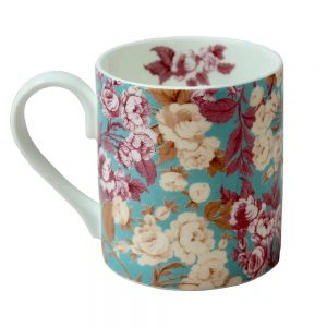 English Roses mug - a straight sided mug with duck egg blue background and pink and sepia roses