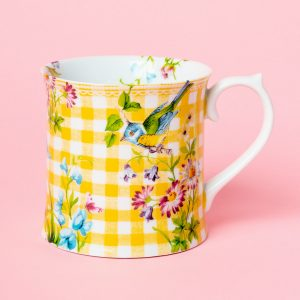 English Garden Yellow Gingham Tankard Mug