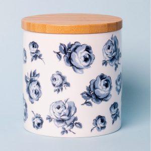 Vintage Indigo Floral Storage Jar