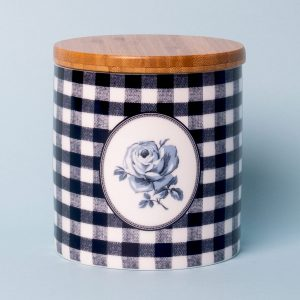 Vintage Indigo Gingham Storage Jar