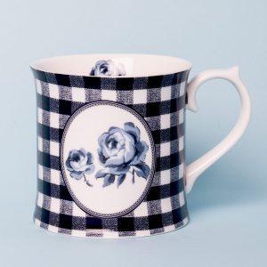 Vintage Indigo Gingham Tankard Mug