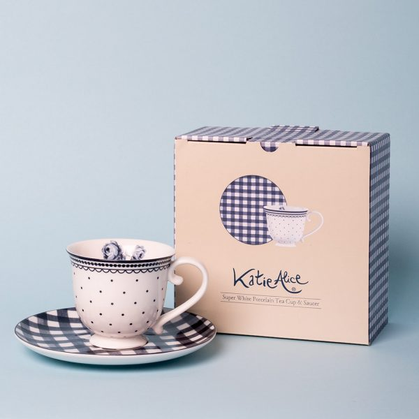 Vintage Indigo Spot Tea Cup And Saucer