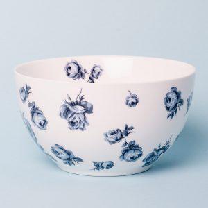 Vintage Indigo White Floral Cereal Bowl